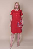 Батальне сукня - сорочка червоного кольору. Оптом і в роздріб. Розмір 52, 54, 56, 58, фото 1