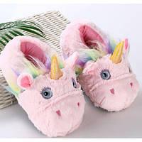 Детские домашние тапочки единорог розовый для кигуруми ktv0130