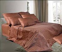 Комплект постельного белья полуторный Бязь GOLD 100% хлопок Полоска коричневый цвет евро