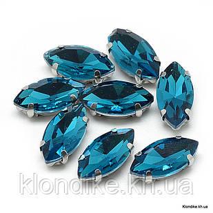 Стразы Пришивные Стеклянные, Лодочка, 10×5×4 мм, Цвет: Темно-голубой (10 шт.)