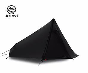 Туристическая легкоходная палатка Aricxi 15D nylon.Треккинговая 1 местная палатка ПИРАМИДА черная