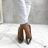 Женские туфли лодочки, цвет никель, каблук 10 см, фото 5