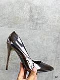 Женские туфли лодочки, цвет никель, каблук 10 см, фото 4