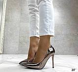 Женские туфли лодочки, цвет никель, каблук 10 см, фото 3