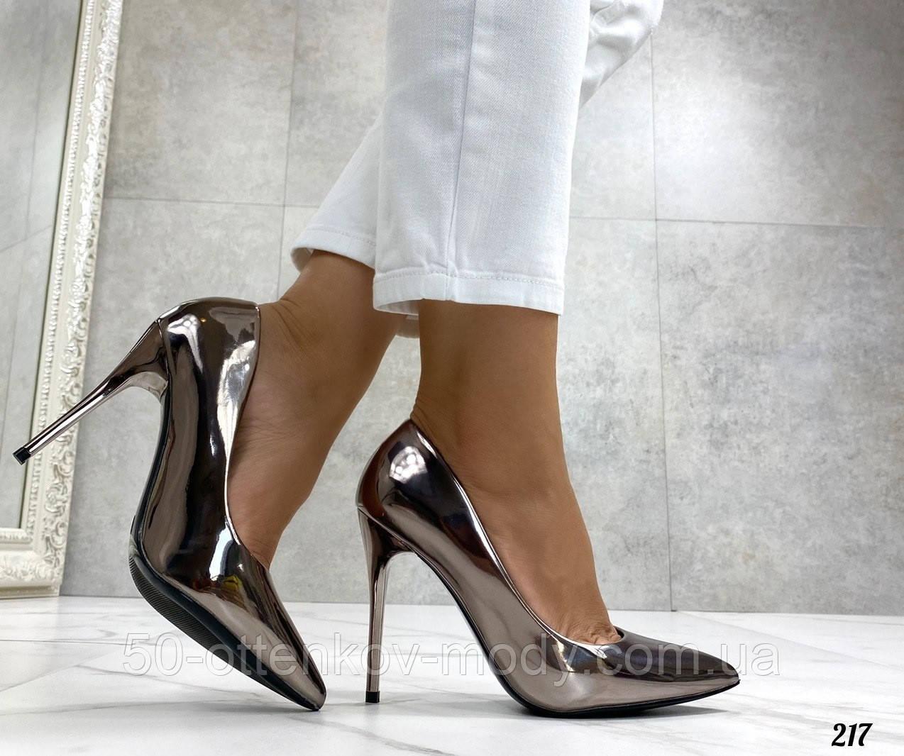 Женские туфли лодочки, цвет никель, каблук 10 см
