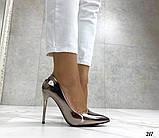 Женские туфли лодочки, цвет никель, каблук 10 см, фото 2
