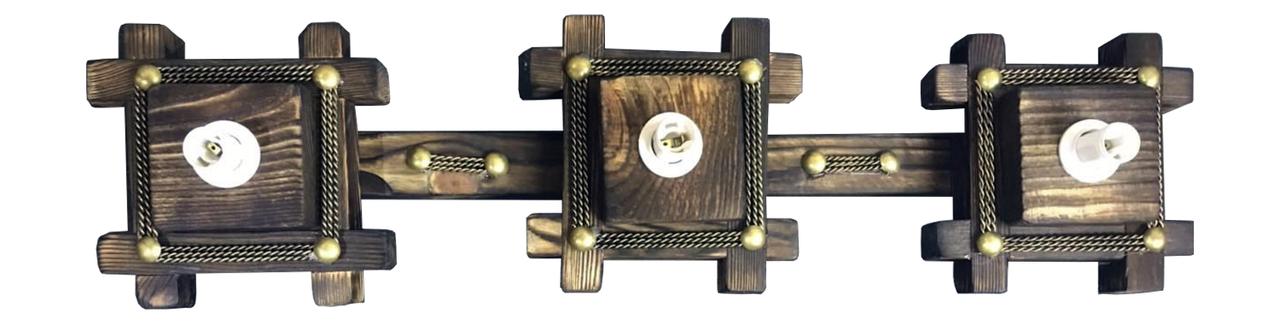 Люстра деревянная на 3 плафона