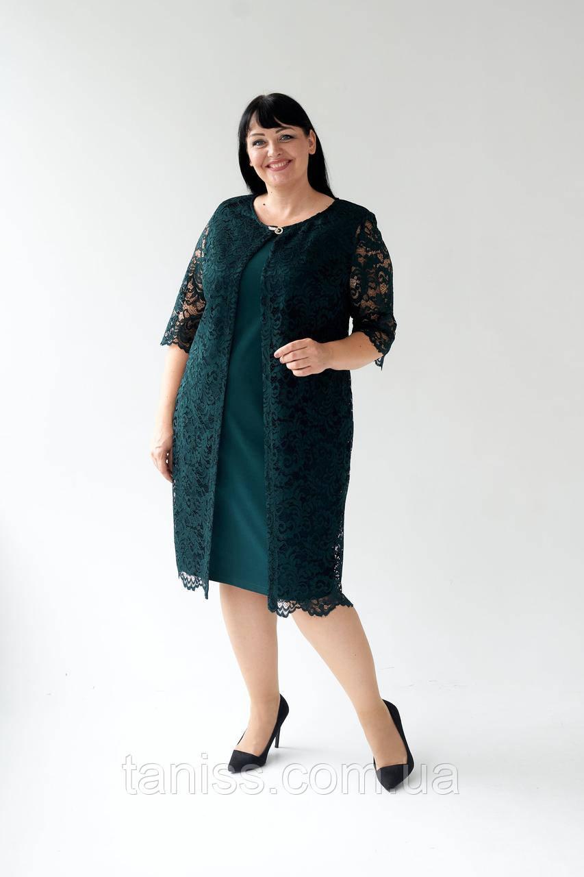 """Женский комплект- двойка """"Хилари"""", ткань креп-дайвинг,гипюр, размеры 54,56,58,60 (023) зеленый,  сукня"""