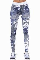 Женские спортивные леггинсы утягивающие с высокой талией Bas Black Code, белые с сине-серым принтом, с сеткой, фото 1