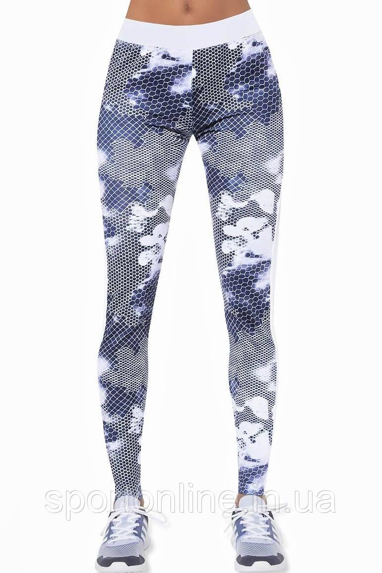 Жіночі спортивні стягуючі брюки з високою талією Bas Black Code, білі з синьо-сірим принтом, з сіткою S