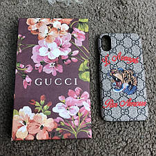 Gucci iPhone X Case with Tiger GG Supreme, фото 3