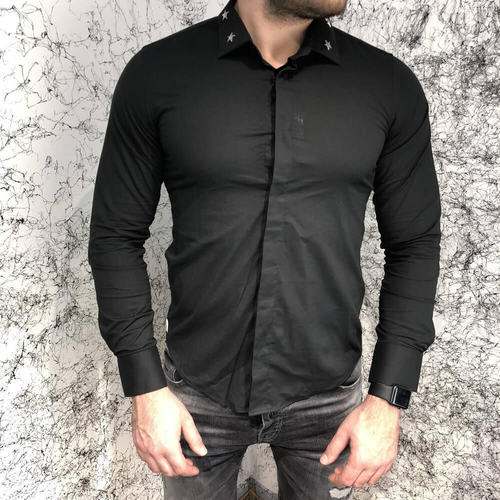 Givenchy Poplin Shirt With Metallic Stars Black