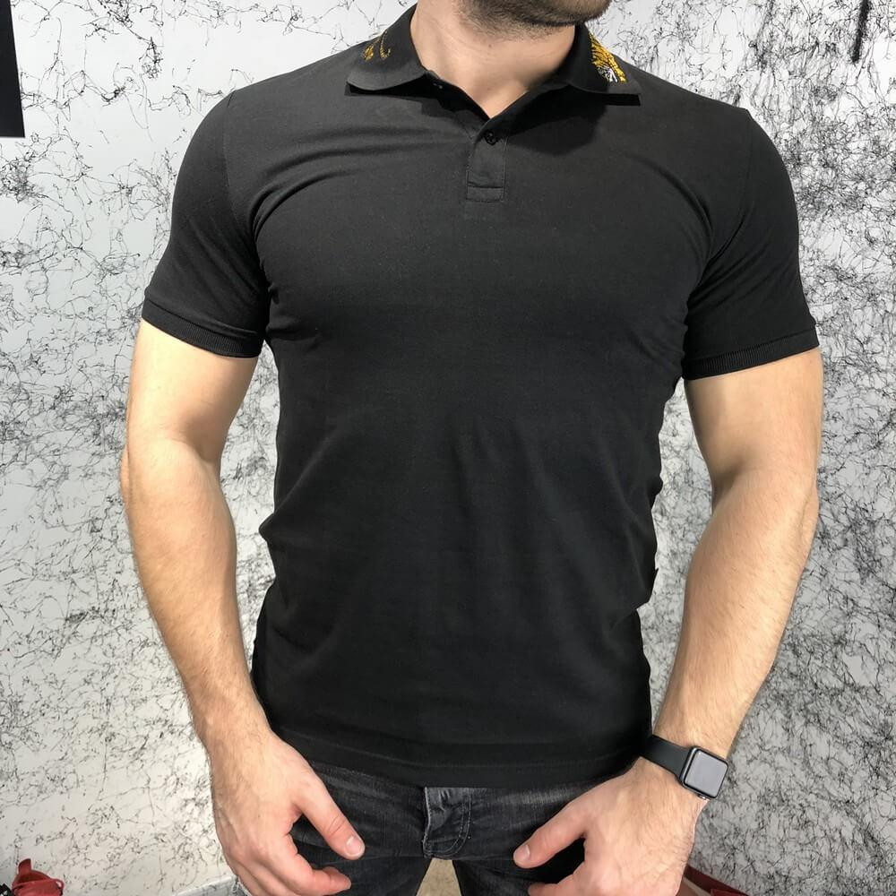 Gucci Cotton Polo with Tiger Embroidery Black