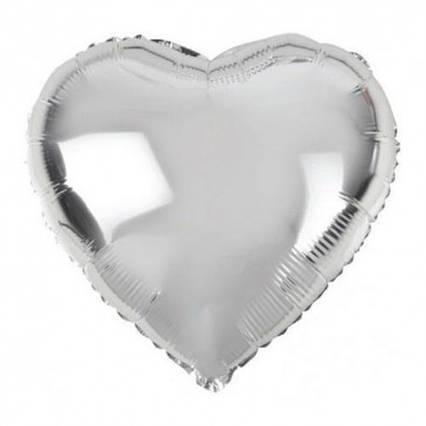 Куля фольгований серце срібло 45 см,Flexmetal Іспанія