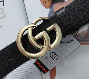 Женский ремень Gucci пряжка золото черный, фото 2