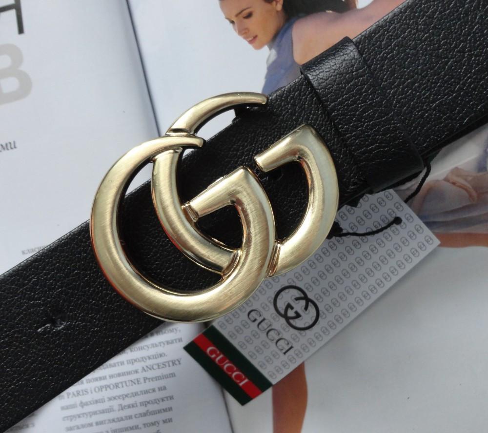 Женский ремень Gucci пряжка золото черный