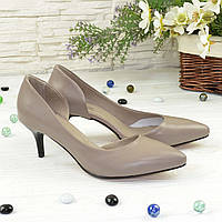 Женские кожаные туфли на невысокой шпильке, цвет визон