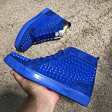 Christian Louboutin Louis Spikes Men's Flat Blue Suede, фото 3