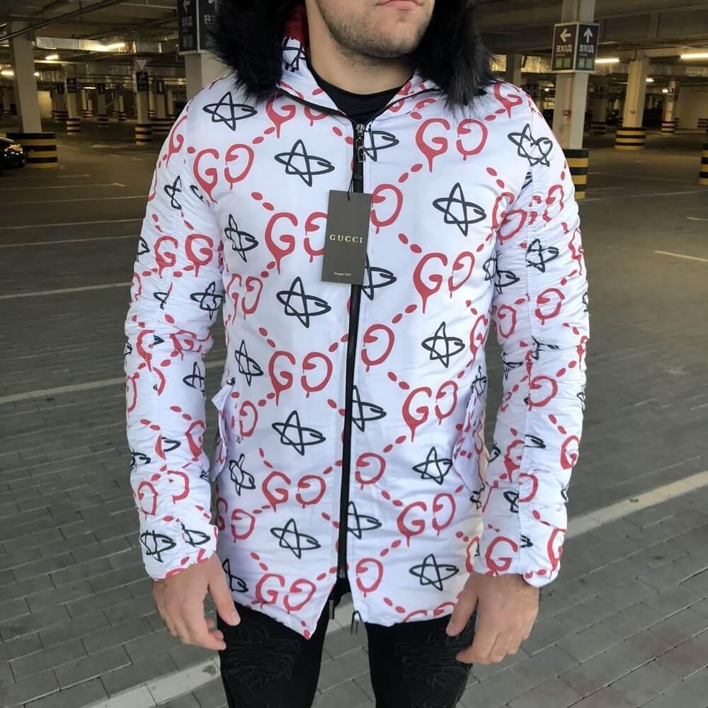 Gucci Jacquard White/Red Parka Jacket