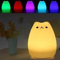 Ночной светильник силиконовый Котик Sleep Lamp 7 режимов свечения, фото 1