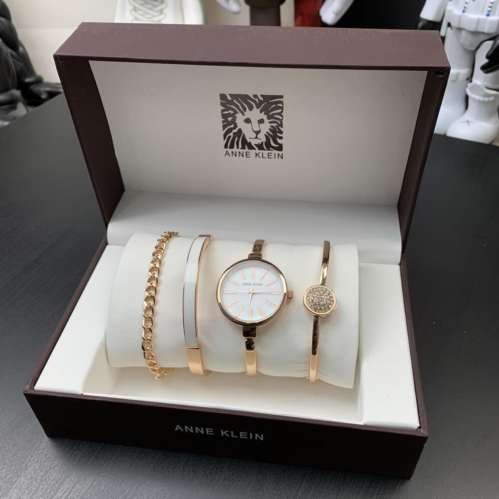 Подарочный Набор Anne Klein Bracelet/Watch/Bracelet with Diamond Gold