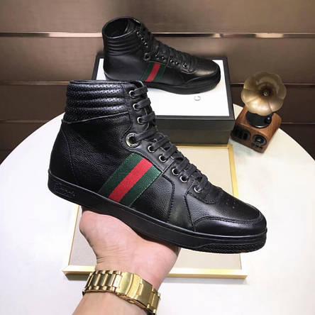 Высокие Кроссовки Gucci High Top Web Black, фото 2