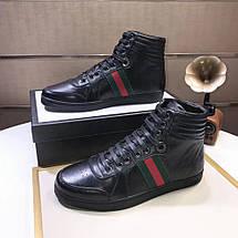 Высокие Кроссовки Gucci High Top Web Black, фото 3