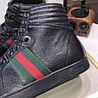 Высокие Кроссовки Gucci High Top Web Black, фото 4