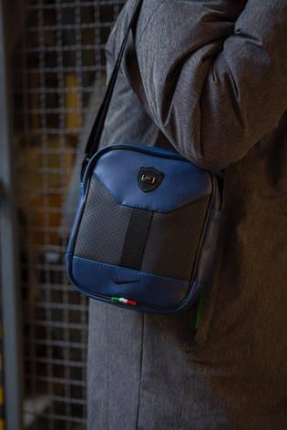 Стильная мужская кожаная барсетка Nike ( сине-черная ), фото 2