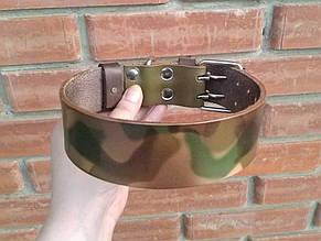 """Кожаный ошейник для собак """"Lockdog"""" цвет хаки"""