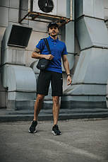 Костюм мужской Nike шорты, футболка электрик+ барсетка+кепка (Nike белое лого) в подарок, фото 3