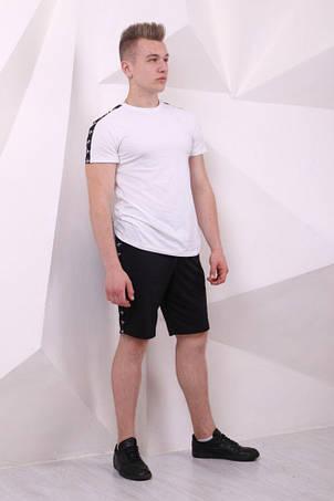 Шорты Adidas чёрные с чёрно-белыми лампасами, фото 2