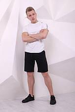 Шорты Adidas чёрные с чёрно-белыми лампасами, фото 3