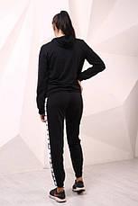 Худи чёрный с бело-чёрными лампасами Adidas, фото 2