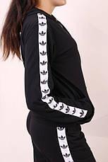 Худи чёрный с бело-чёрными лампасами Adidas, фото 3