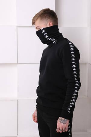 Бафф утеплённый чёрный с чёрно-белыми лампасом Kappa, фото 2