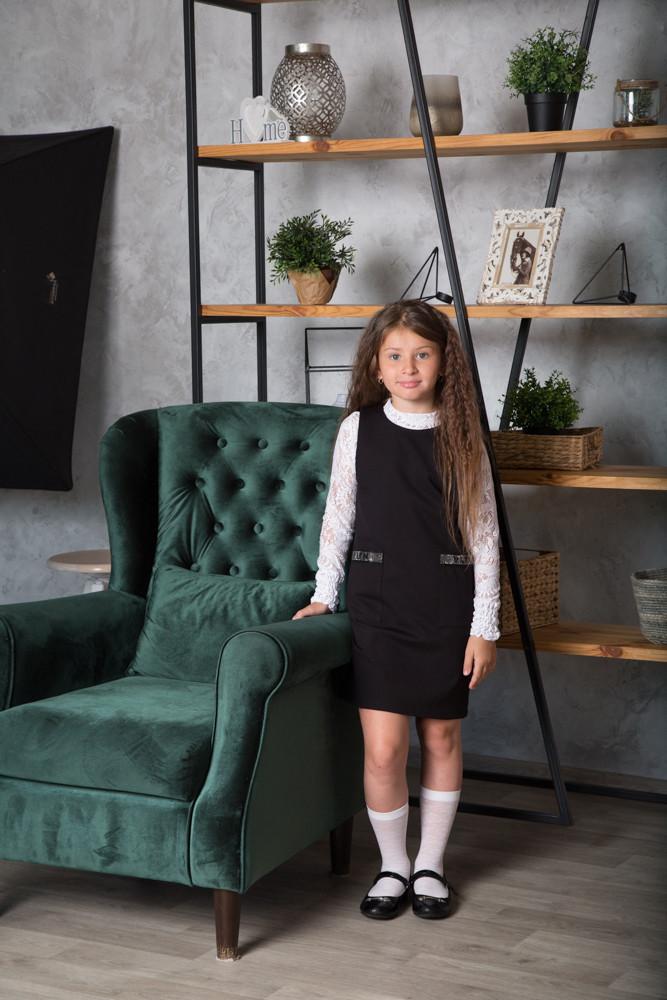 Сарафан для девочки школьный SmileTime Valentino с карманами, черный (ШКОЛА)