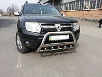 Кенгурятник с надписью WT004 (нерж.) Renault Duster 2008-2017 гг. / Кенгурятники Рено Дастер, фото 1