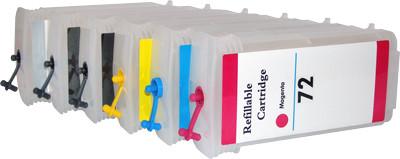 Перезаправляемые картриджи Ocbestjet для HP DesignJet T610, T770, T790, T1200 с авточипами HP72, 130 мл