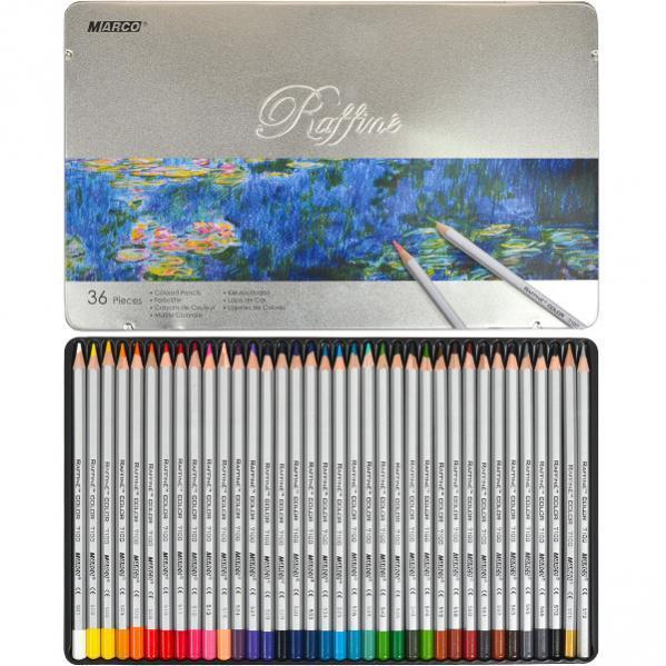 Карандаши цветные Marco Raffine 36 цветов в металлическом пенале 7100-36TN