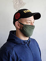 Многоразовая маска для лица цвета хаки 3шт.