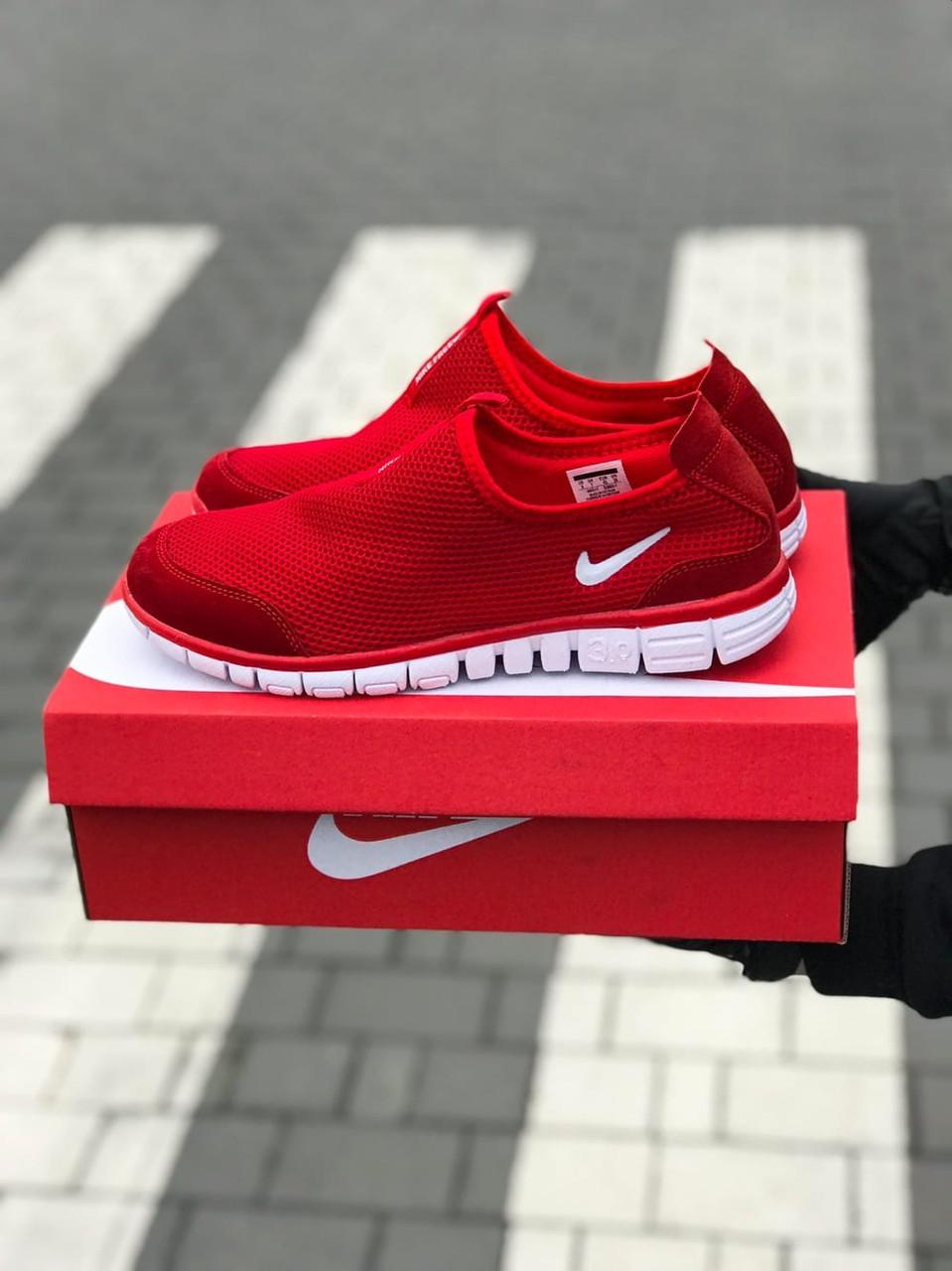 Слипоны мокасины мужские Nike free run 3.0 летние красные сетка