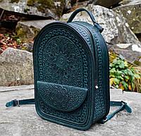 """Шкіряний рюкзак ручної роботи """"Талісман"""" темно-зелений"""