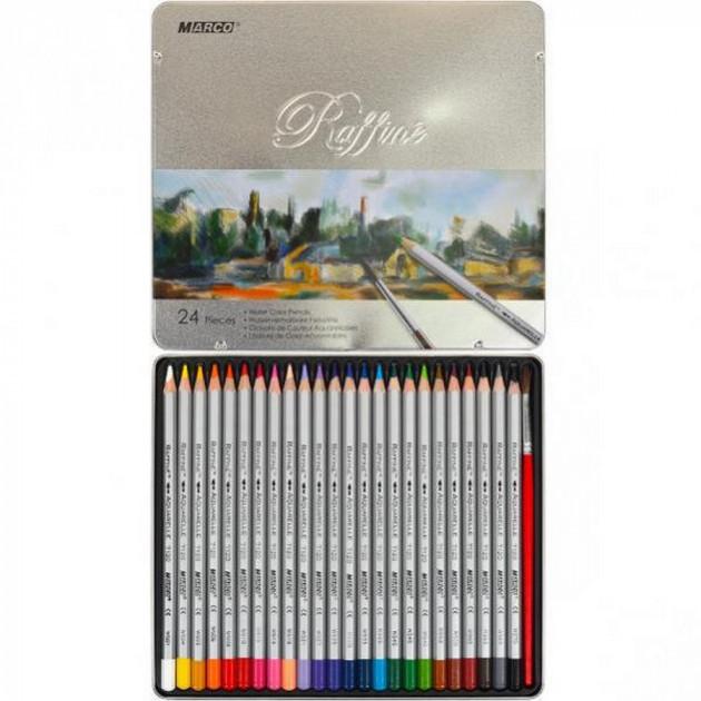 Карандаши цветные акварельные Marco Raffine 24 цвета в металлическом пенале 7120/24TN
