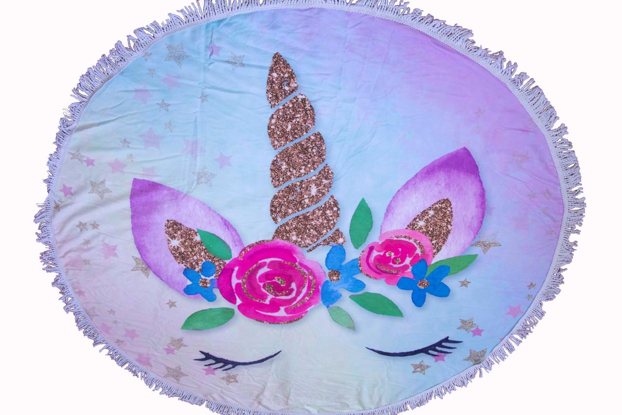Пляжное круглое полотенце коврик с бахромой 150см микрофибра Розы