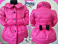 Детский модный теплый плащик на синтепоне для девочки / розовый