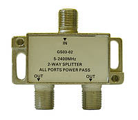 Делитель с пропуском питания Split GS 03-02 (два равноценных выхода, пропускает 5-2400 МГц)