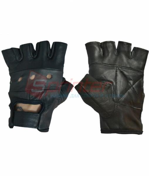 Перчатки для тяжёлой атлетики без пальцев кожа, L