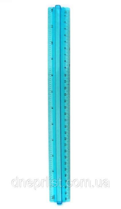 Линейка пластиковая 30 см, голубая, прозрачная