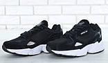 Мужские кроссовки Adidas Falcon в стиле Адидас Фалкон ЧЕРНЫЕ БЕЛЫЕ (Реплика ААА+), фото 3